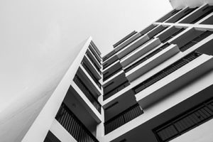 Black and white exterior building
